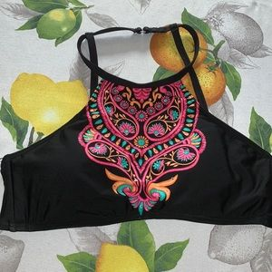 Kenneth Cole High Neck Boho Embroidered bikini top